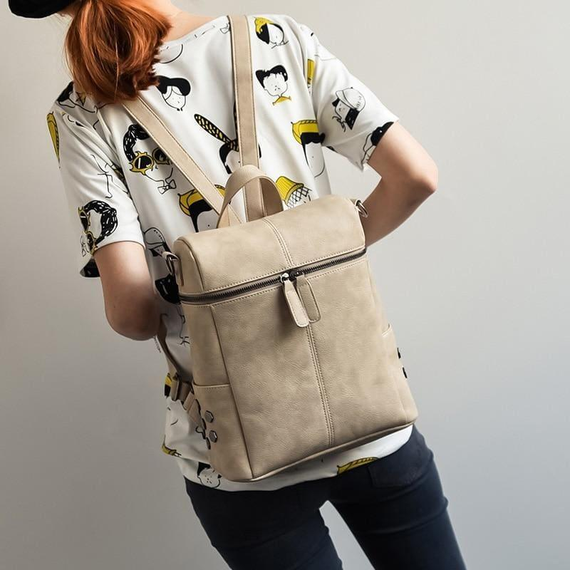Teenage Girls School Bags Fashion Vintage Solid Black Shoulder Bag - khaki - HandBag