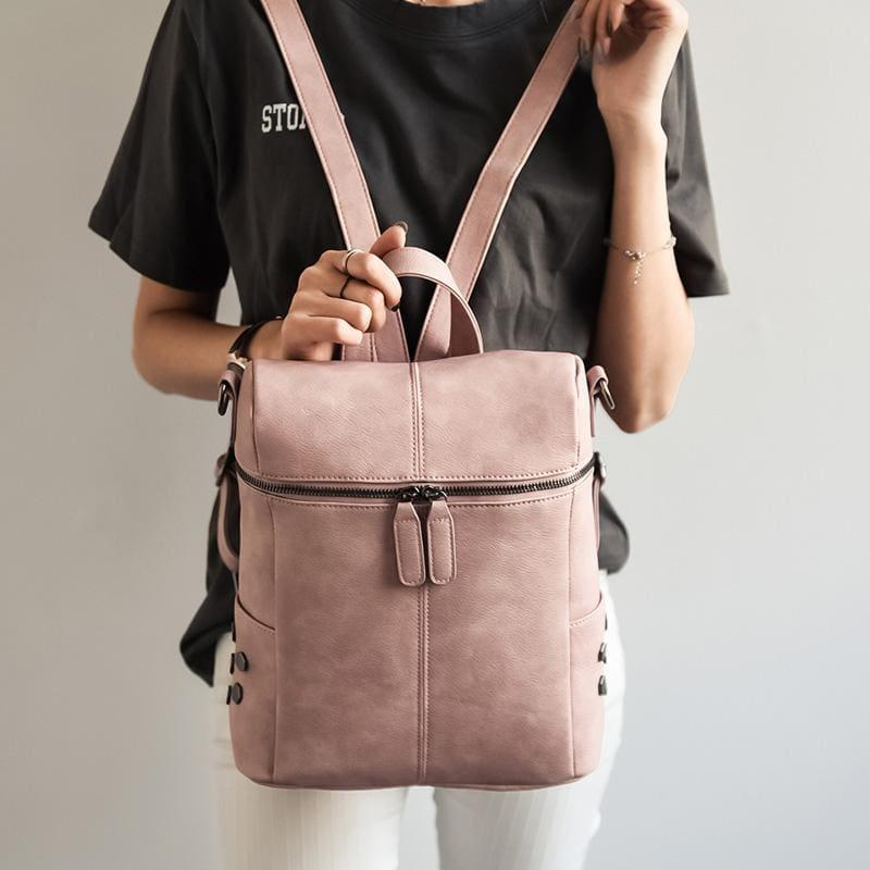 Teenage Girls School Bags Fashion Vintage Solid Black Shoulder Bag - pink - HandBag