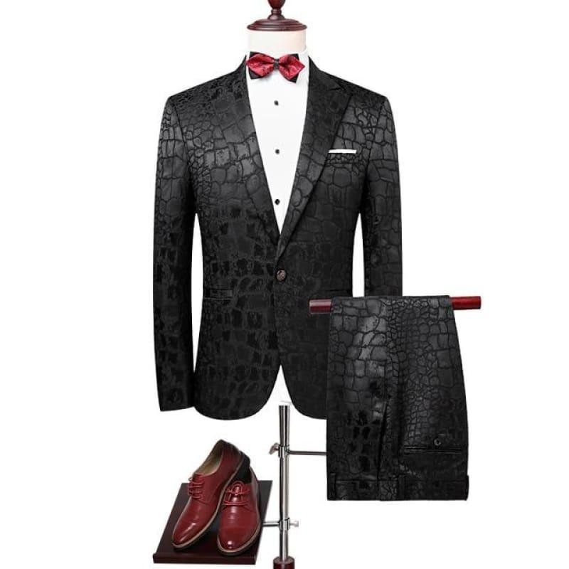 Textured Squared Black Tuxedo Men Suits - Black / XXXL - mens suits
