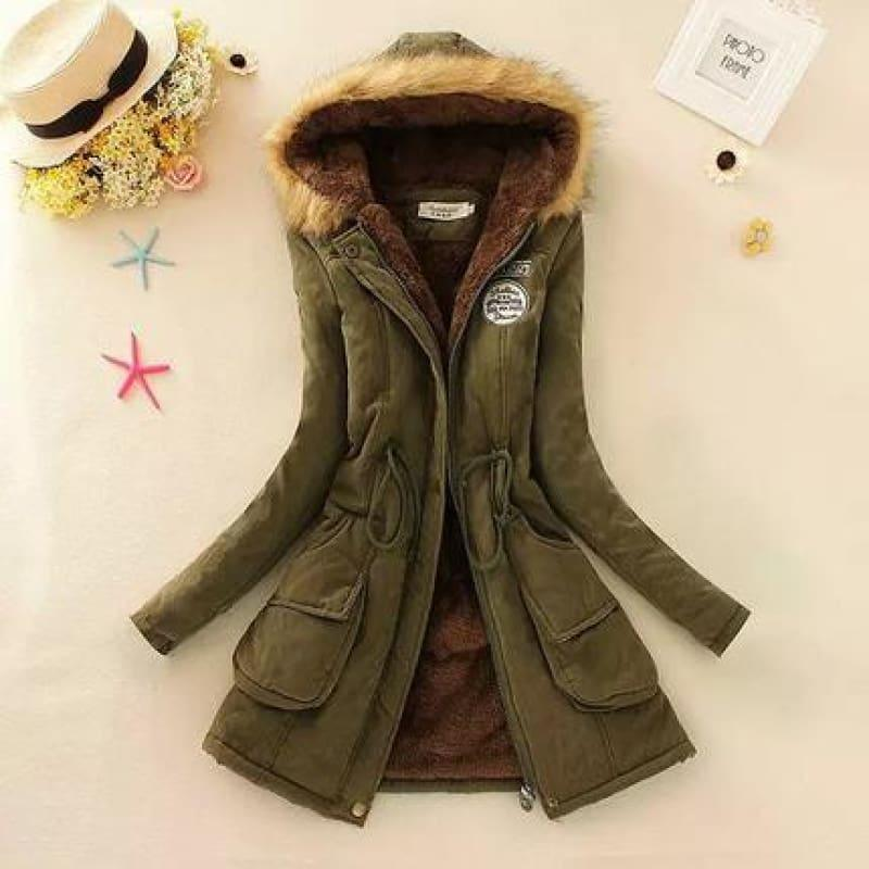 Thick Warm Female Hooded Fur Cotton - Army Green / L - Coats