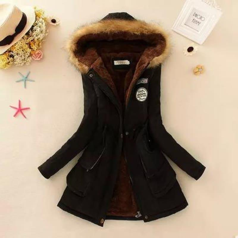 Thick Warm Female Hooded Fur Cotton - Black / L - Coats