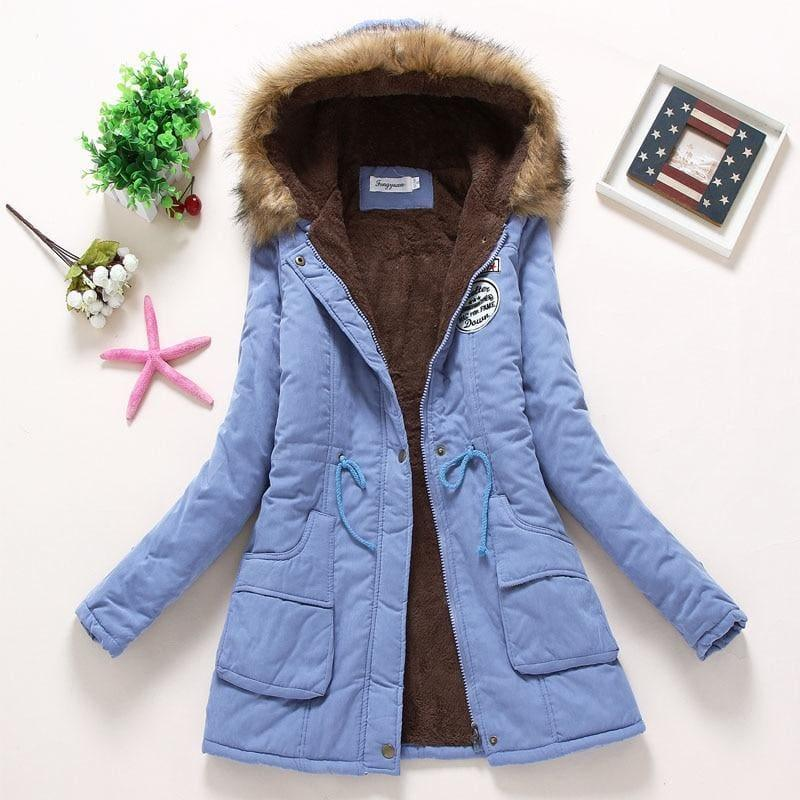 Thick Warm Female Hooded Fur Cotton - Light Blue / L - Coats