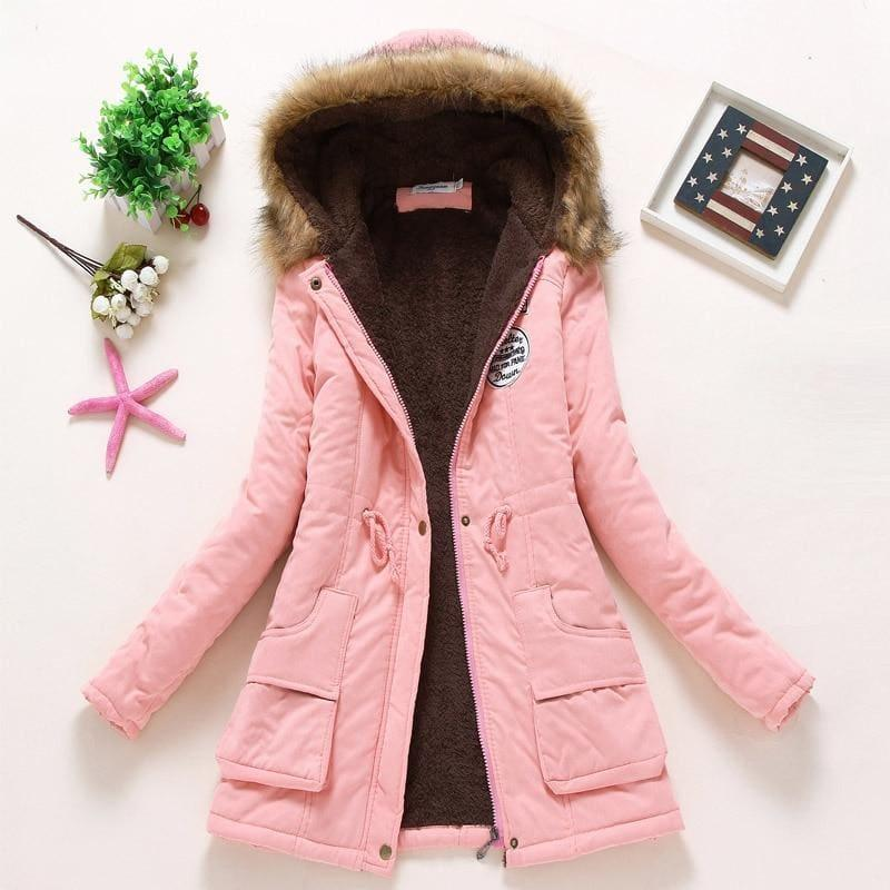 Thick Warm Female Hooded Fur Cotton - Light Pink / L - Coats