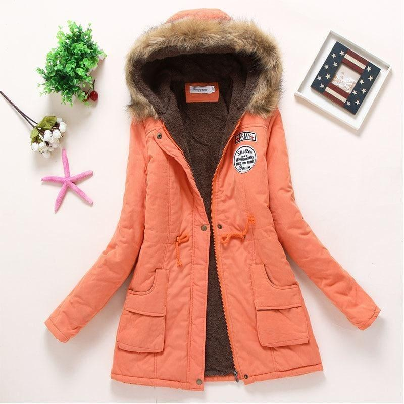 Thick Warm Female Hooded Fur Cotton - Orange / L - Coats