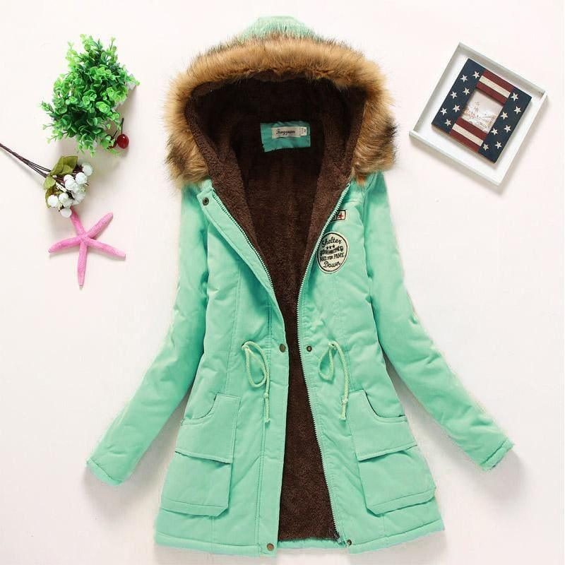 Thick Warm Female Hooded Fur Cotton - Pea Green / L - Coats