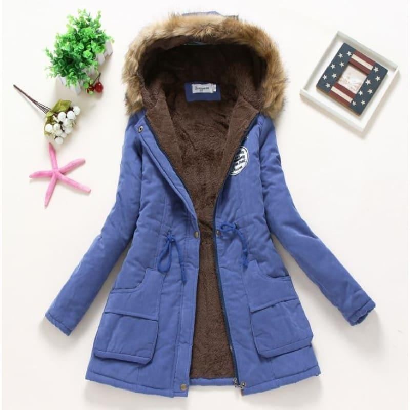 Thick Warm Female Hooded Fur Cotton - Royal Blue / L - Coats