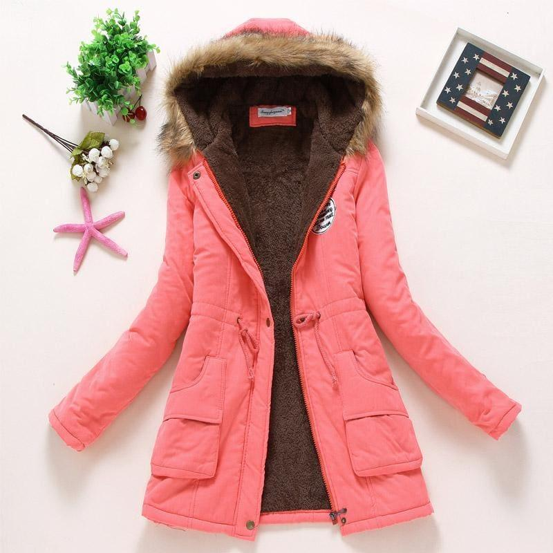 Thick Warm Female Hooded Fur Cotton - Watermelon Red / L - Coats