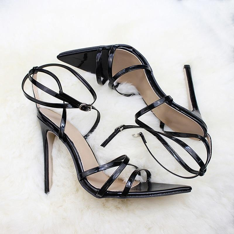 Thin Heels Pumps Ankle Cross Strap Sandals - black / 35 - Sandals