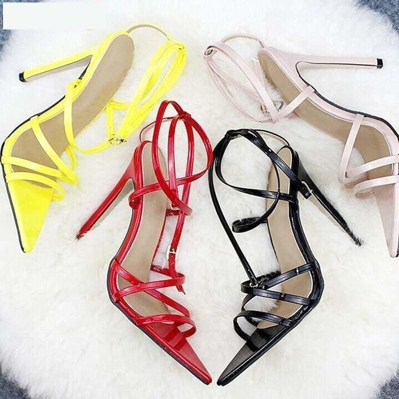 Thin Heels Pumps Ankle Cross Strap Sandals - Sandals