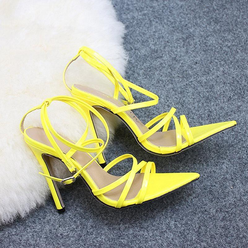 Thin Heels Pumps Ankle Cross Strap Sandals - yellow / 35 - Sandals