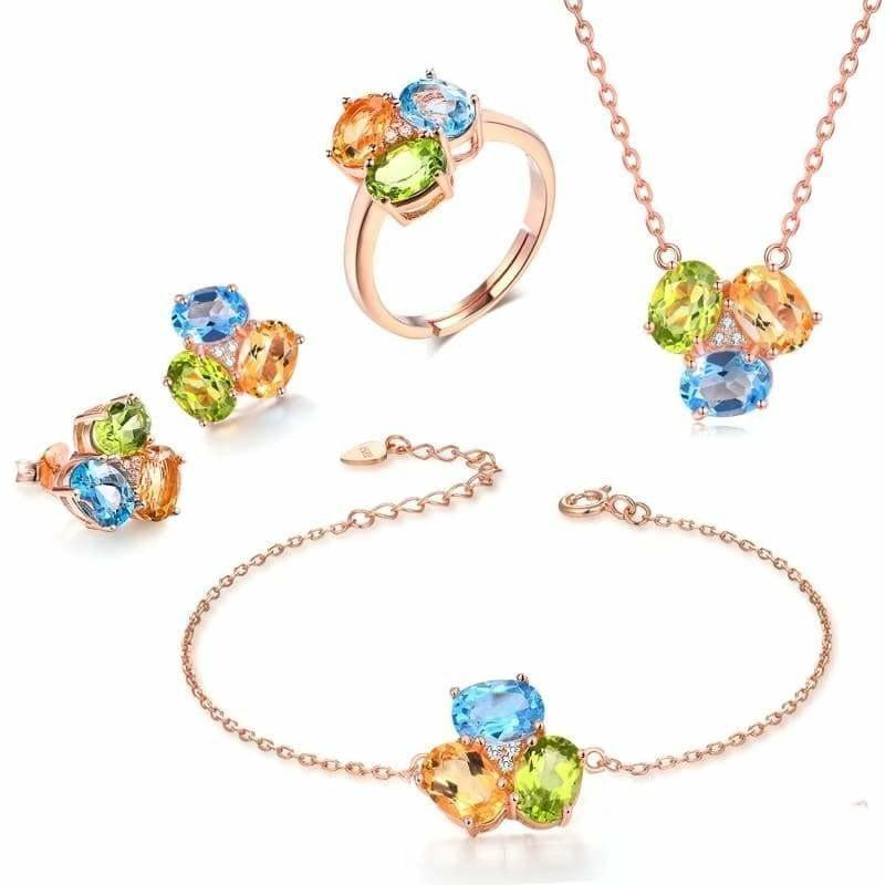 Three Natural Gemstone Yellow Citrine Green Peridot Blue Topaz Fine Jewelry Set - jewelry set