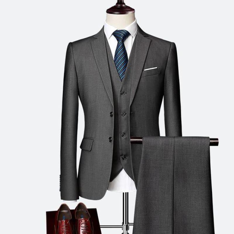 Three Piece Formal Business Mens Suits - Gray / XXXL - mens suits