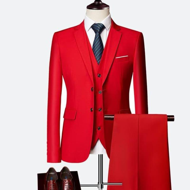 Three Piece Formal Business Mens Suits - Red / XXXL - mens suits