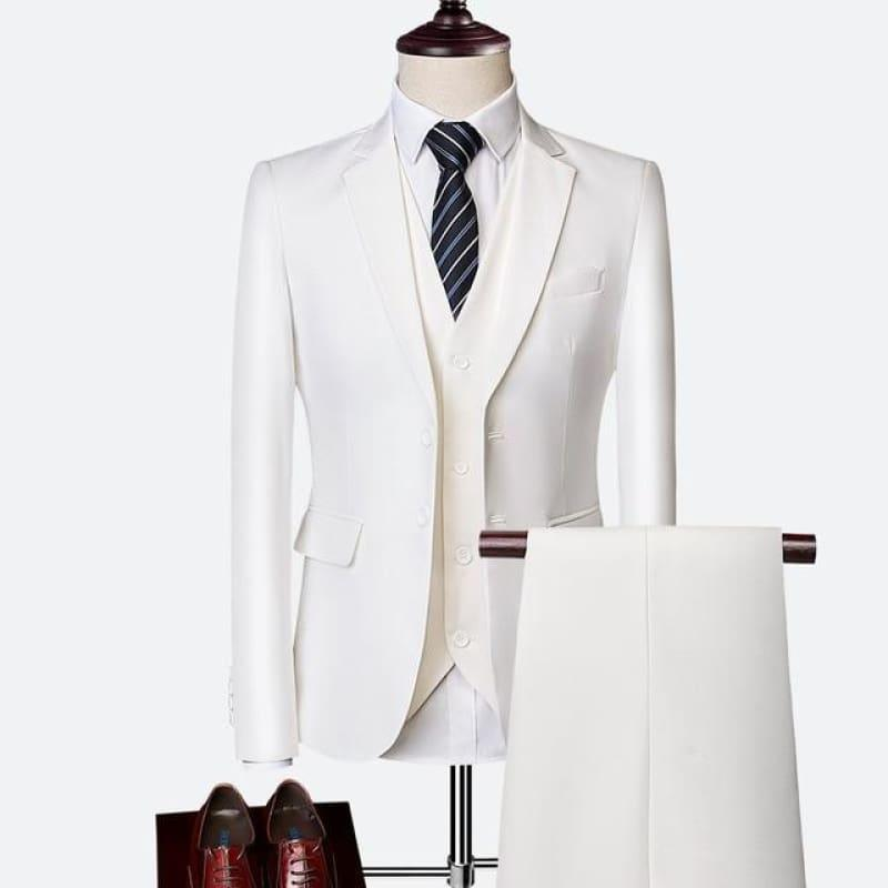 Three Piece Formal Business Mens Suits - WHITE / XXXL - mens suits