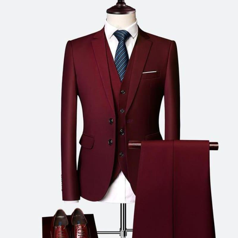 Three Piece Formal Business Mens Suits - Wine Red / XXXL - mens suits