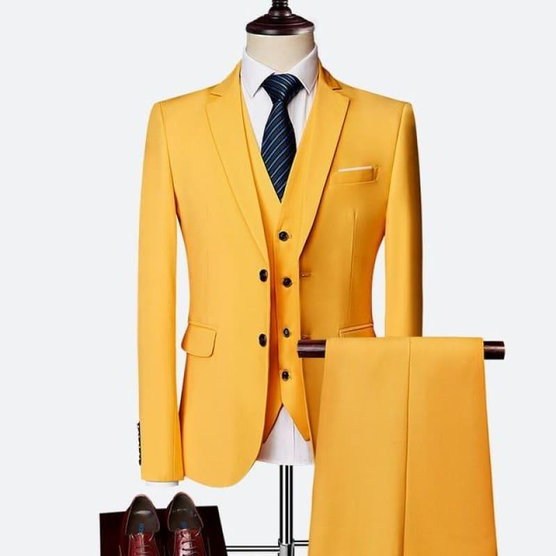 Three Piece Formal Business Mens Suits - YELLOW / XXXL - mens suits