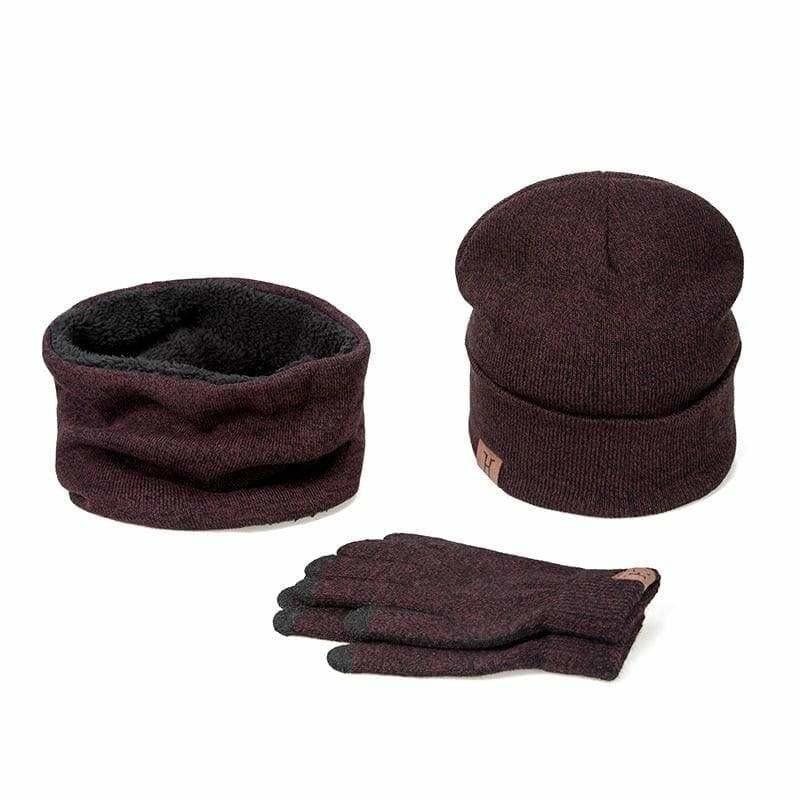 Three Piece Set Winter Hat And Gloves Cotton Unisex Winter Hat Scarf Gloves - B - Hats