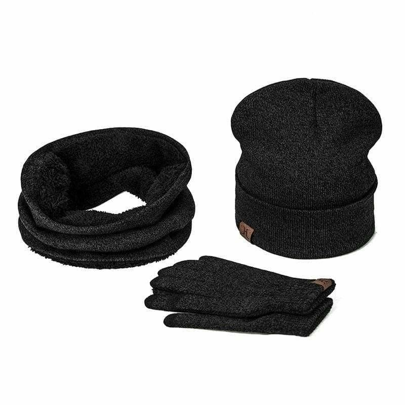 Three Piece Set Winter Hat And Gloves Cotton Unisex Winter Hat Scarf Gloves - C - Hats