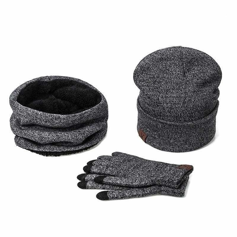 Three Piece Set Winter Hat And Gloves Cotton Unisex Winter Hat Scarf Gloves - F - Hats