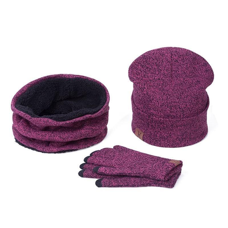 Three Piece Set Winter Hat And Gloves Cotton Unisex Winter Hat Scarf Gloves - Hats