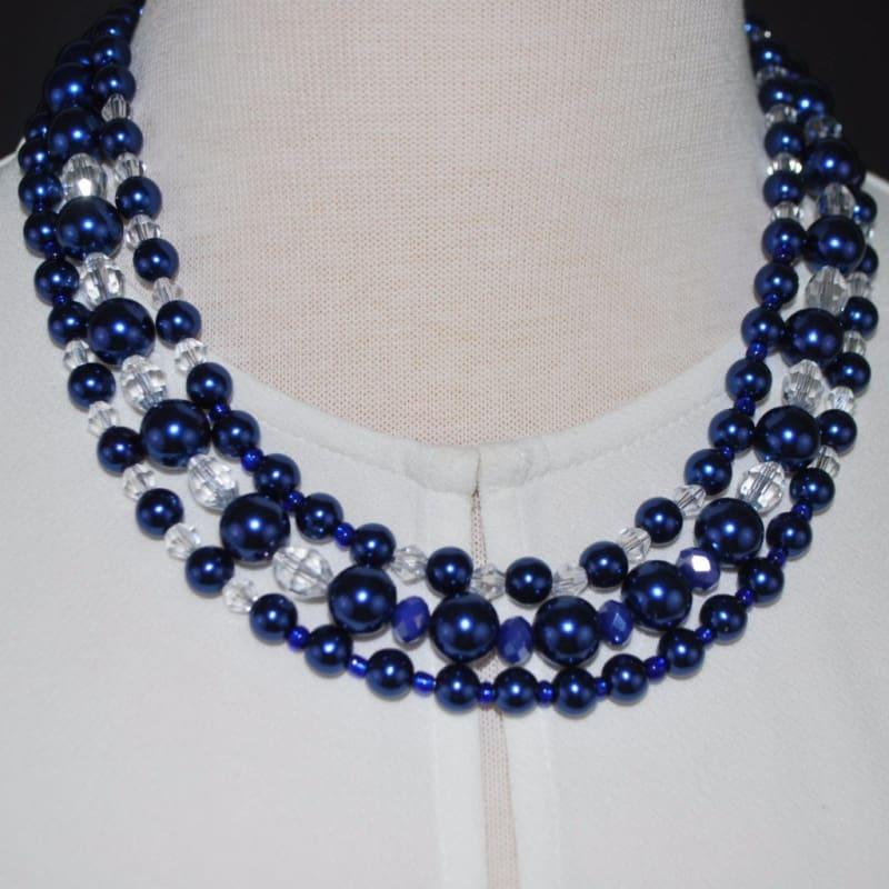 Three Strands Blue Glass Pearls Crystal Necklace - Handmade