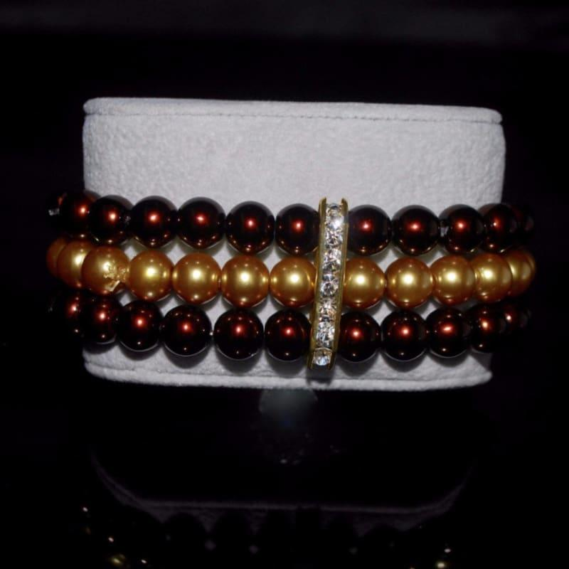 Three Strands Brown And Gold Two Toned Bracelets - Handmade