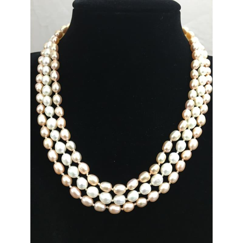 Three Strands Freshwater Pearls Necklace - Handmade