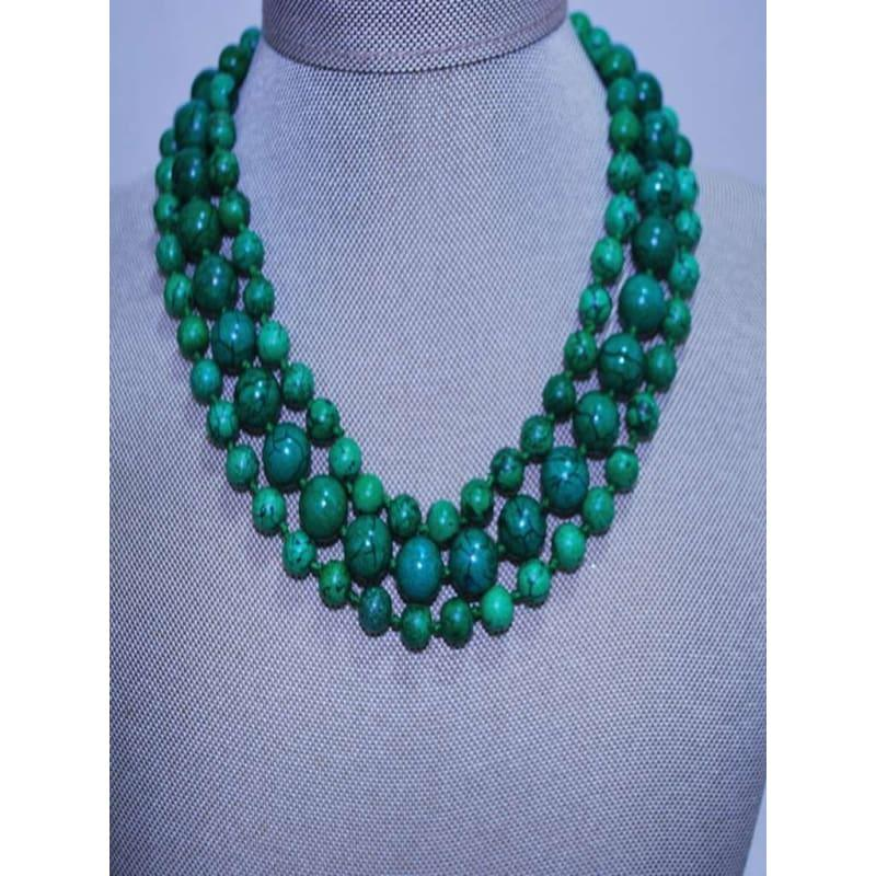 Three Strands Green Turquoise Womens Beaded Necklace - Handmade
