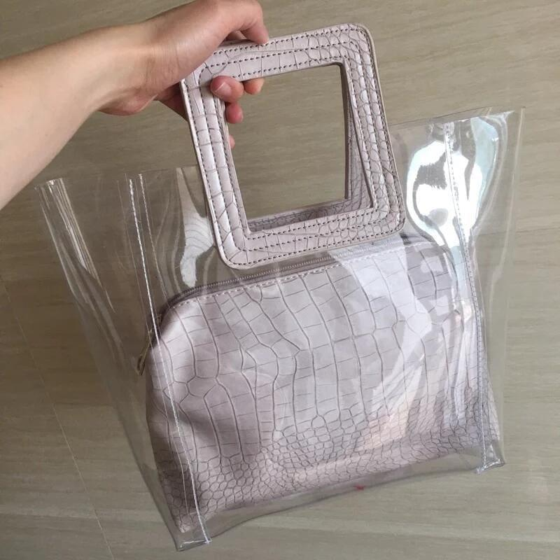Transparent and Leather Woman Tote Bag - apricot / One Size - HandBag