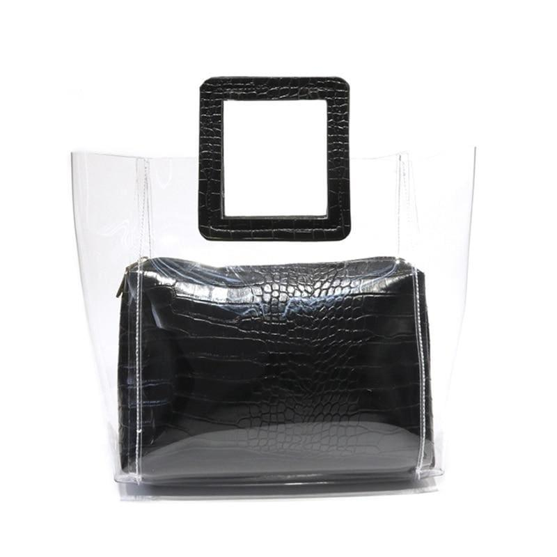 Transparent and Leather Woman Tote Bag - black / One Size - HandBag