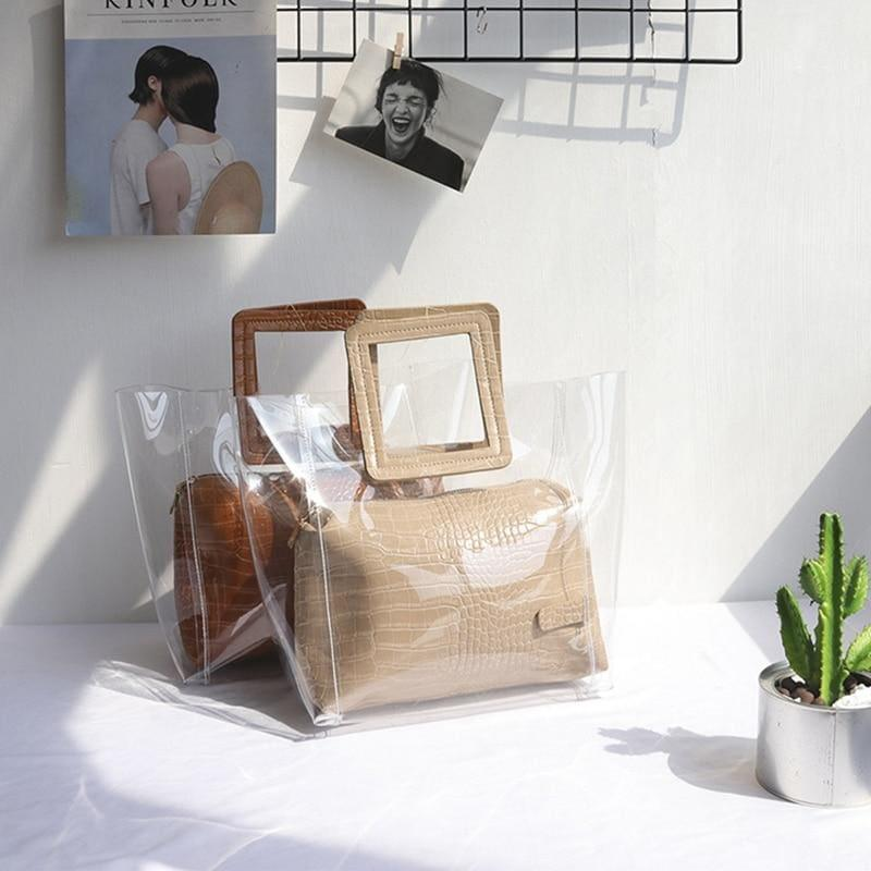 Transparent and Leather Woman Tote Bag - HandBag