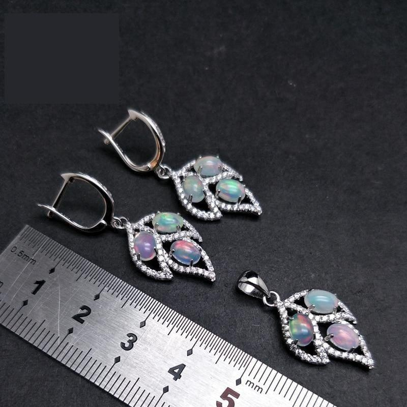 Tree Leaf Opal Clasp Earring and Pendant Jewelry Set - Jewelry set