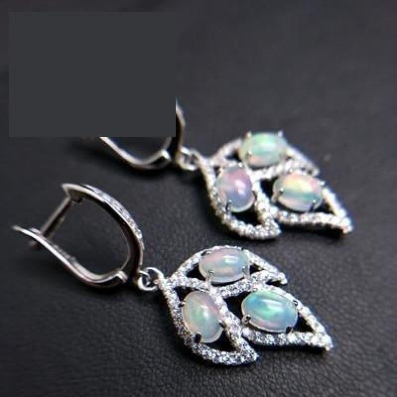 Tree Leaf Opal Clasp Earring and Pendant Jewelry Set - earring - Jewelry set