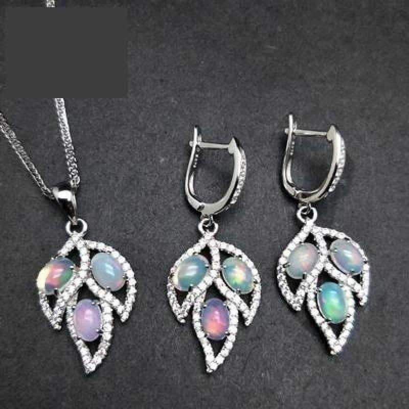 Tree Leaf Opal Clasp Earring and Pendant Jewelry Set - opal set - Jewelry set