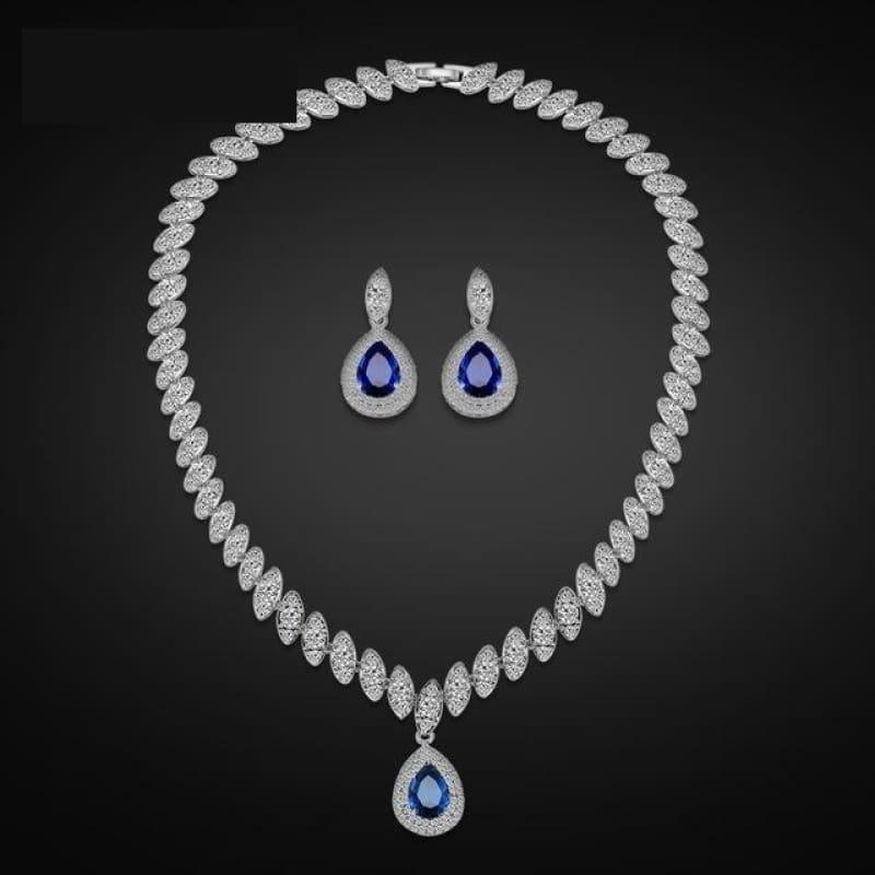 Trendy Water Drop Cubic Zirconia Crystal Bridal Wedding Jewelry Set - Dark blue - Jewelry Set