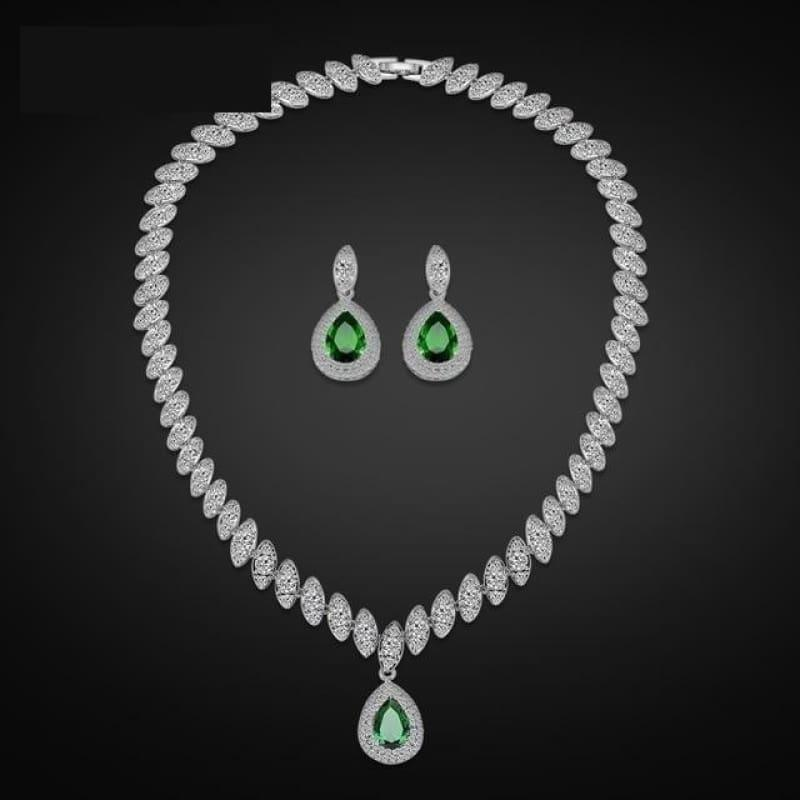 Trendy Water Drop Cubic Zirconia Crystal Bridal Wedding Jewelry Set - Green - Jewelry Set