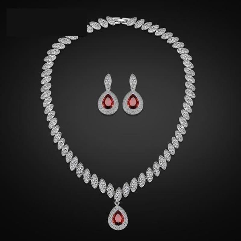 Trendy Water Drop Cubic Zirconia Crystal Bridal Wedding Jewelry Set - Red - Jewelry Set