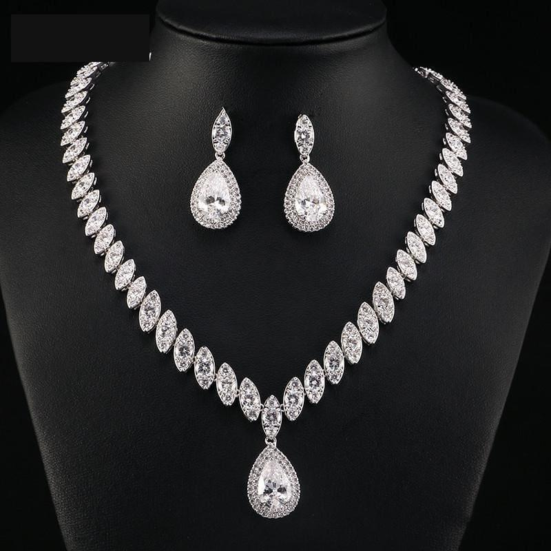 Trendy Water Drop Cubic Zirconia Crystal Bridal Wedding Jewelry Set - Jewelry Set