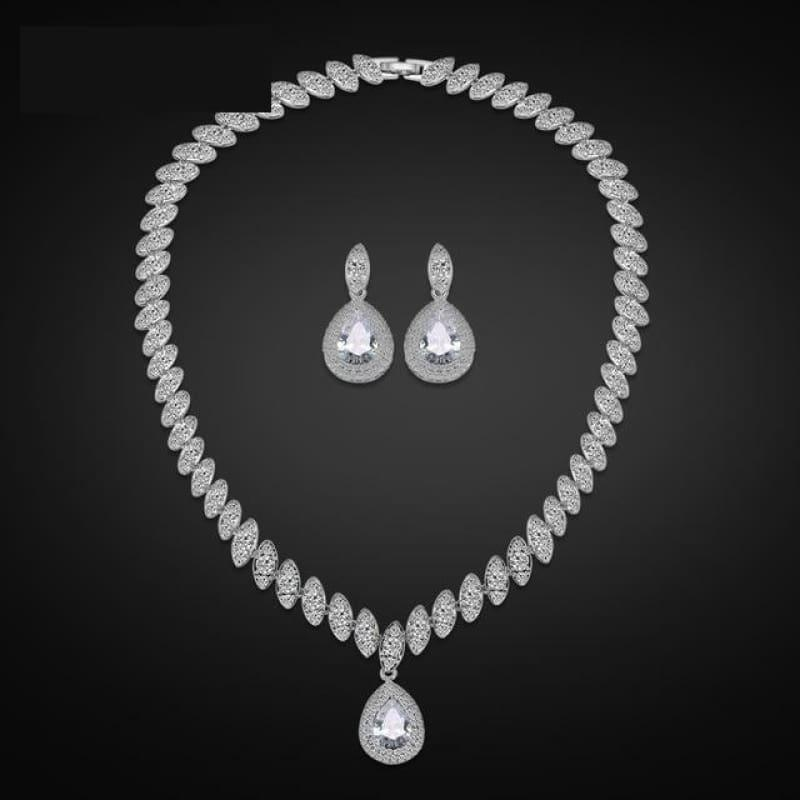 Trendy Water Drop Cubic Zirconia Crystal Bridal Wedding Jewelry Set - White - Jewelry Set