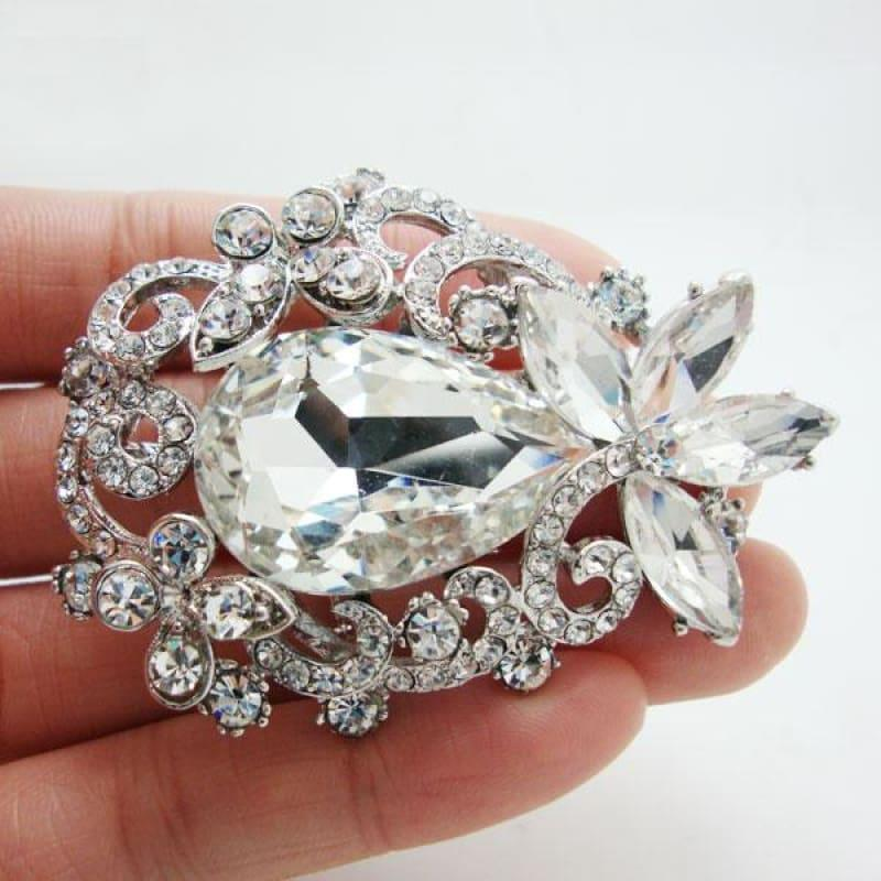 TTjewelry Bride Wedding Flower Bouquet Bridesmaid Brooch Pin Pendant Clear Rhinestone Crystal - brooch