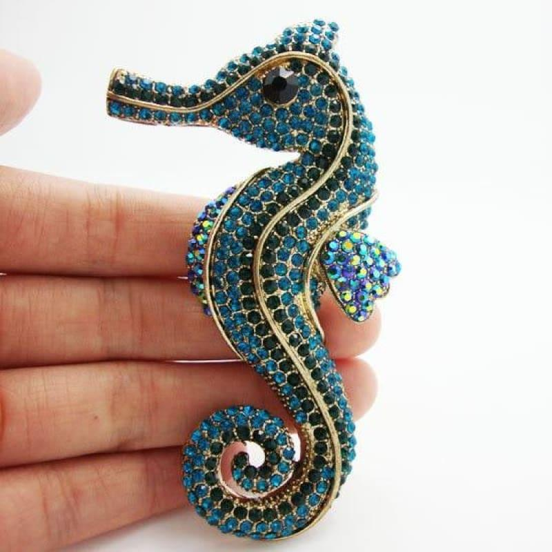 TTjewelry Pretty Fashion lovely retro Blue crystal rhinestone brooch pins hippocampus Seabed animals - Default title - Brooch