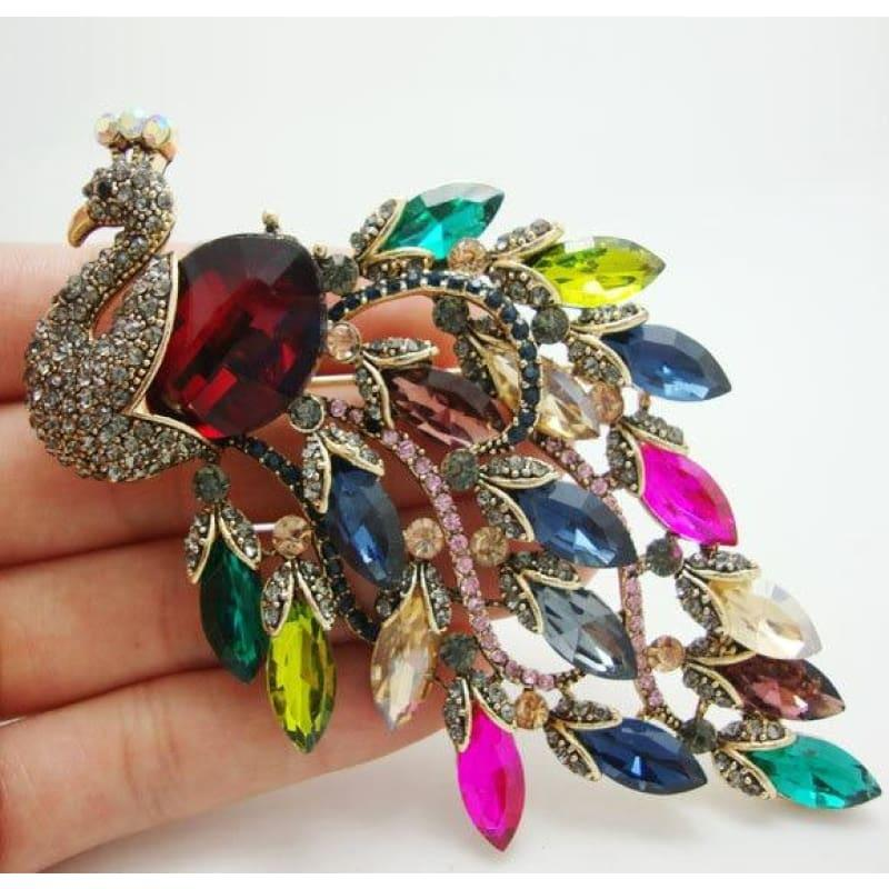 TTjewelry Top Vintage Luxury Peacock Multi-color Austrian Rhinestone Crystal Art Nouveau Bird Brooch Pin - brooch