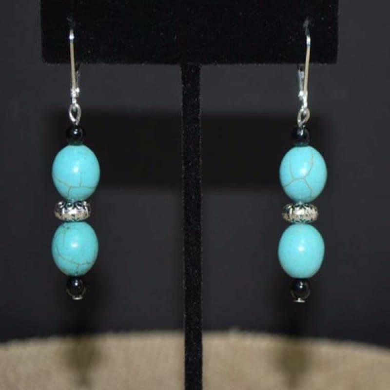Turquoise Antique Silver Drop Earrings - Earrings