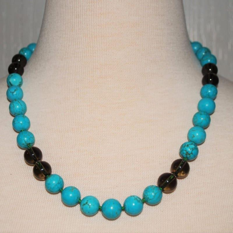 Turquoise Color Block Necklace - Handmade