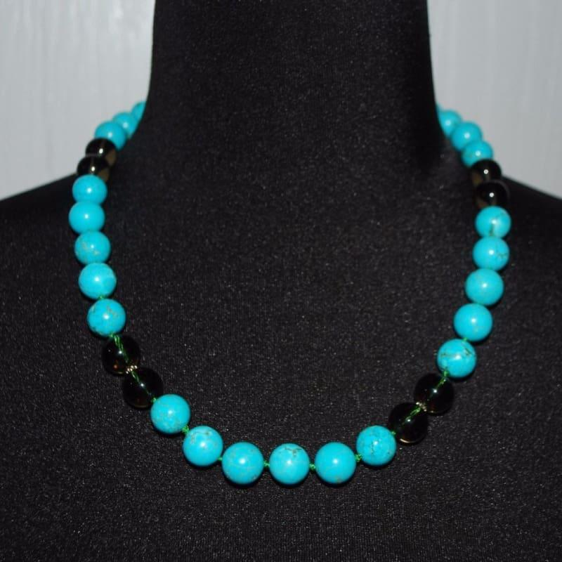 Turquoise With Black Quartz Color Block Necklace - Handmade