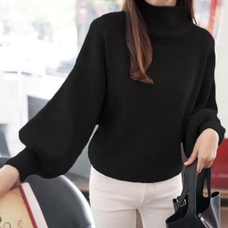 Turtleneck Batwing Sleeve Pullovers Loose Knitted Sweater Top - Black / One Size - Long Sleeve