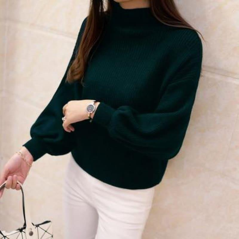 Turtleneck Batwing Sleeve Pullovers Loose Knitted Sweater Top - Dark Green / One Size - Long Sleeve
