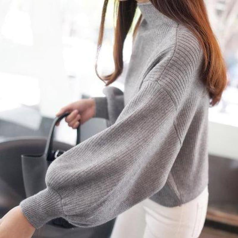 Turtleneck Batwing Sleeve Pullovers Loose Knitted Sweater Top - Gray / One Size - Long Sleeve