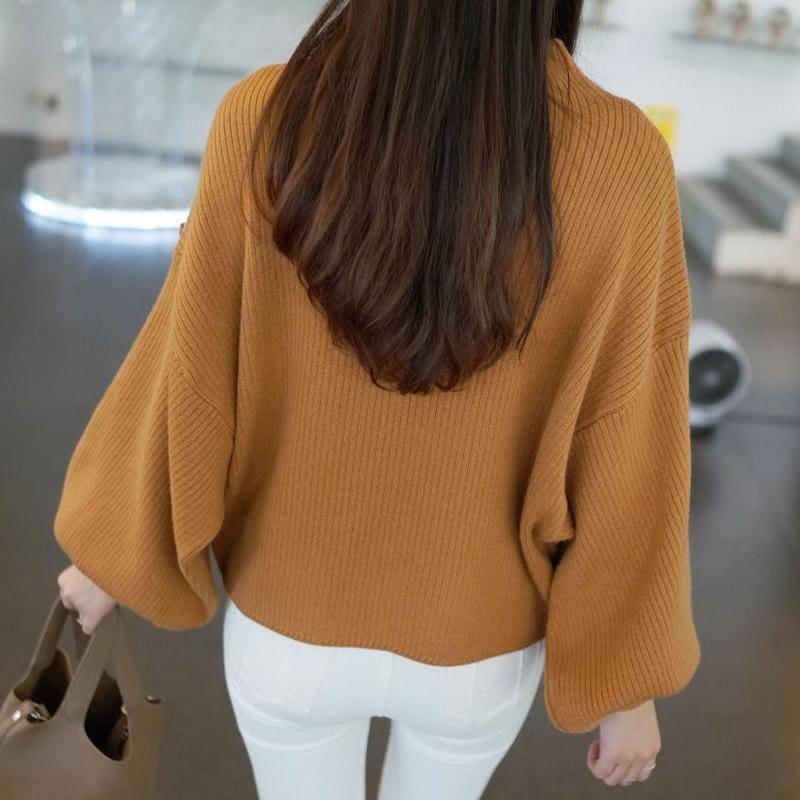 Turtleneck Batwing Sleeve Pullovers Loose Knitted Sweater Top - Long Sleeve