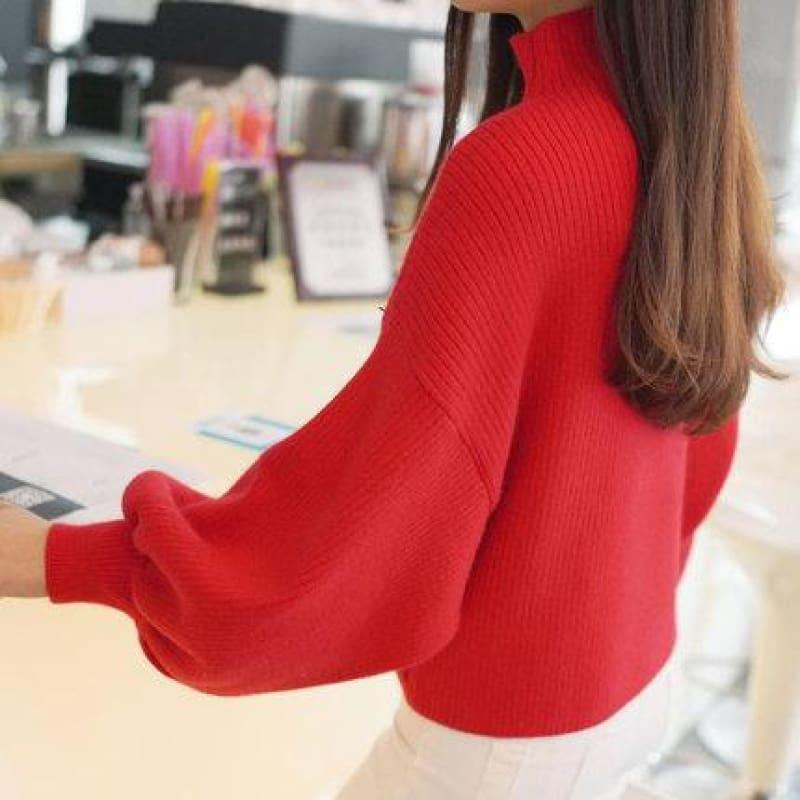 Turtleneck Batwing Sleeve Pullovers Loose Knitted Sweater Top - Red / One Size - Long Sleeve